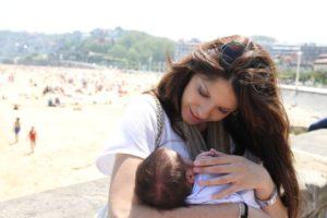 Con Telmo, recién nacido.