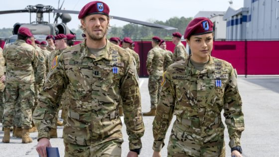 """Valor -- """"Pilot"""" -- Image Number: VAL101b_0929b2.jpg -- Pictured (L-R): Matt Barr as Gallo and Christina Ochoa as Nora -- Photo: Mark Hill/The CW -- © 2017 The CW Network, LLC. All Rights Reserved ."""