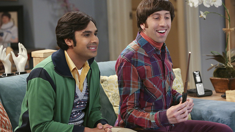 """The Table Polarization"" -- Wolowitz is offered a chance to go back to space and Bernadette struggles with whether or not to encourage him, on THE BIG BANG THEORY, Thursday, Feb. 27 (8:00 – 8:31 PM, ET/PT) on the CBS Television Network. Pictured left to right: Kunal Nayyar and Simon Helberg Photo: Michael Yarish/Warner Bros. Entertainment Inc. © 2014 WBEI. All rights reserved."